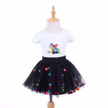 Baby Girls Tutu Skirt Sets Summer Toddler Girls Clothing Sets Cottons Flower Tshirt Sets for Girls Party Ballet Dance Skirt