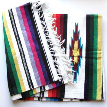 vintage chimayo serape style blanket in thick cotton. Blue, red, pink, green, black, white, yellow