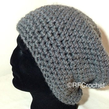 WARM | Large Adult Beanie | Men or Women |Heather Gray | Thick | Long | Roomy | Unisex | Teen | Tam | Free USA Shipping