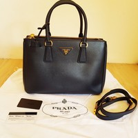 Authentic Prada Saffiano BN1801 Galleria Baltico Blue Bag Lux Tote Crossbody
