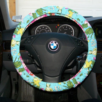 Organic Cotton Floral Steering Wheel Cover