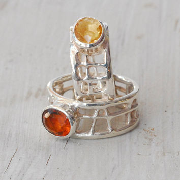 Citrine Geometric Ring, Sterling Silver Wide Band Ring, November Birthstone, Statement Ring, Cocktail Ring, Santorini Everyday Fine Jewelry