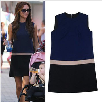 Victoria Beckham VB Dress 2016 New Summer Star Celebrity Mini Dresses Women Sleeveless Brief Fashion Dress Free Shipping R383