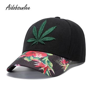 Trendy Winter Jacket 2018 New Arrival MEN'S HATS Caps Hot Hemp Leaf Embroidery Snapback Hat Cap Baseball Cap Hip Hop Outdoor Adjustable Unisex AT_92_12