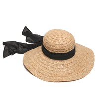 ále by Alessandra Hat | Trendy Raffia Straw Hat with Black Scarf | SolEscapes.com