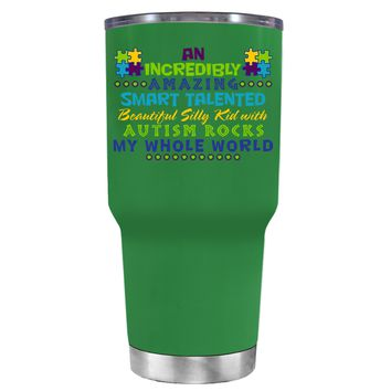 TREK An Amazing Smart Talented Kid with Autism on Kelly Green 30 oz Tumbler Cup