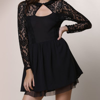 Black Keyhole Sheer Lace Paneled A-Line Dress
