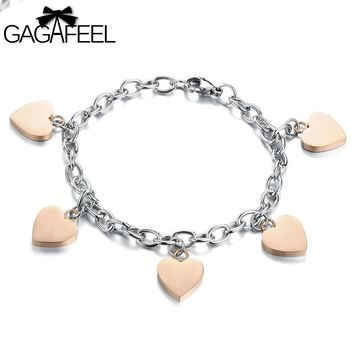 Fashion Women Rose Gold Color Jewelry Titanium Stainless Steel Lady Charm Bracelets Love Heart Link Chain Bangles OB779