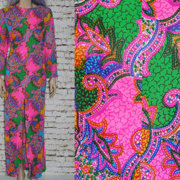 60s Maxi Dress Psychedelic Bright Floral Paisley Caftan Long Sleeves Mod Hippie Hipster Boho Festival Plus Size 1X 2X 16 18 70s Sheer Silky