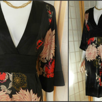 Trending 1990's Asian Style Dress, Silky Tunic Floral Dress, Vintage Black Large Floral Print Dress