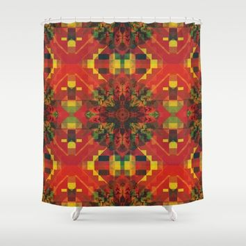 Red Pattern with little Mandala Shower Curtain by Jeanette Rietz
