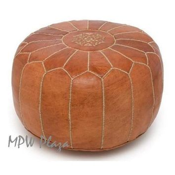 Pouf Rustic Brown Moroccan Leather