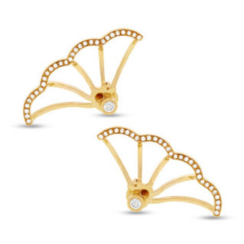 0.28ct 14k Yellow Gold Diamond Ear Jacket Earring with Studs