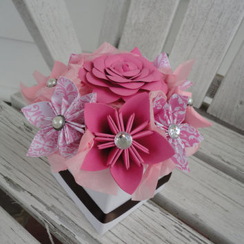 Origami Paper Flower Centerpiece - Kusudama Pink Small Wedding Centerpiece Shower Decor