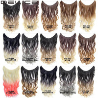 22inch Women Long  Wavy Curly Ombre Hair Extensions Color Gradient Invisible Wire Synthetic Hairpieces 9 Colors