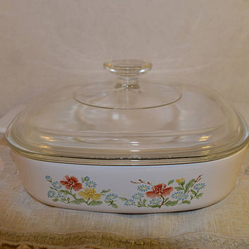 Corning Ware Casserole Dish A-8-B with Lid Vintage Wild Flowers Corning Ware Pyrex Glass Lid 1.4 Liters 1.5 QT Made in USA Bakeware Cookware