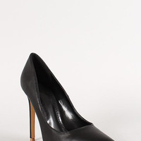Shoe Republic Leatherette Pointy Toe Stiletto Pump Color: Black, Size: 6.5