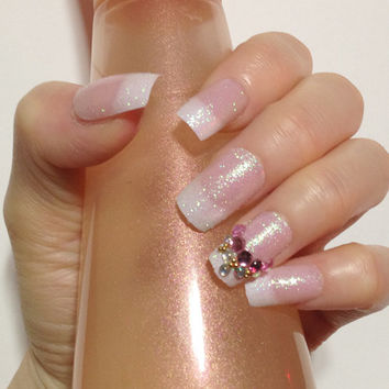 White Pink French Nails Fake Japanese Nail Art Kawaii