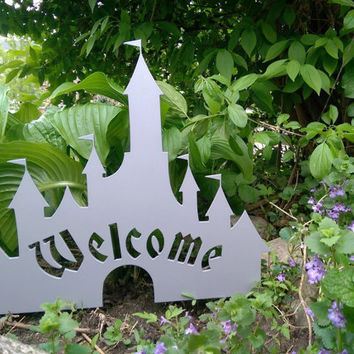 Disney Castle Inspired Welcome Sign - Metal Art for Your Garden / Yard