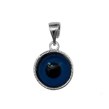 Sterling Silver Greek Meandros Evil Eye Charm