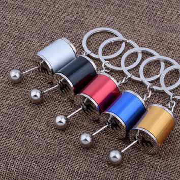 Six-speed Manual Transmission Shift Lever Keychain Creative Auto Part Model Automotive Keyring Key Chain Ring Keyrings Keyfob