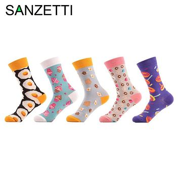 SANZETTI 5 Pair/Lot cartoon Printing Creative Food Women Socks Omelette ice cream Donuts Bread Casual life home funny Socks