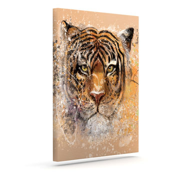 "Geordanna Cordero-Fields ""My Tiger"" Orange Tan Outdoor Canvas Wall Art"