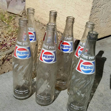 Vintage Pepsi Glass Bottles/One  Pint Swirl Soda Pop Bottle/Pepsi Cola (Lot of 7)