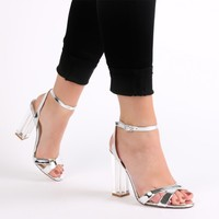 Arielle Perspex Heel Cut Out Sandals in Silver