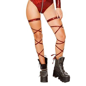 """Roma Rave 3629 - 100"""" Broken Glass Leg Strap with Attached Garter"""