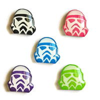 Star Wars Storm Trooper Shrink Plastic Stud Earrings -You can choose from Blue, Purple or Lime green -