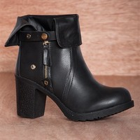 Bumper Fabulous Find Sammi-03 Fold Down Cut Out Ankle Boots - Black