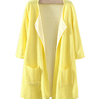 Yellow Open Front Cardigan With Pockets