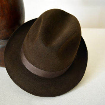 Brown Fur Felt Trilby - Narrow Brim Beaver Fur Felt Blend Handmade Trilby Hat - Men Women