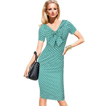 New Fashion Women Casual Dresses Short Sleeve Polka Dot Knee Length V Neck Sexy Party Dresses