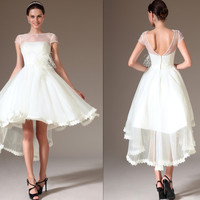 Custom Made Sheer Top Cap-Sleeves High Low Wedding Dress  (01140207)