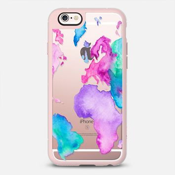 Modern pink purple green travel world map globe bright watercolor paint by Girly Trend iPhone 6s case by Girly Trend | Casetify