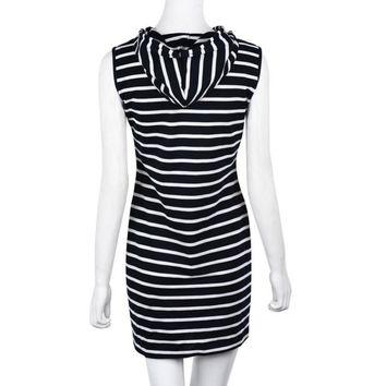 New Sleeveless Body con Hoody Striped Casual Dresses for Women