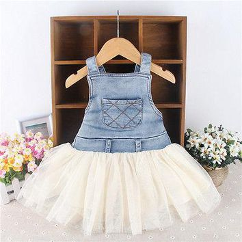 Denim Kids Baby Girls Clothes Dress Summer Toddler Overalls Frilly Patchwork Sleeveless DenimTutu Ball Dresses 6M-4Y Outfits