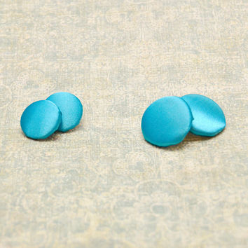 Teal Blue PolySatin Button Earrings, Fabric Jewelry, Clip-On, Pierced, Non Pierced, Womens Teen Jewelry, Wife Girlfriend Mom Sister Gift Her