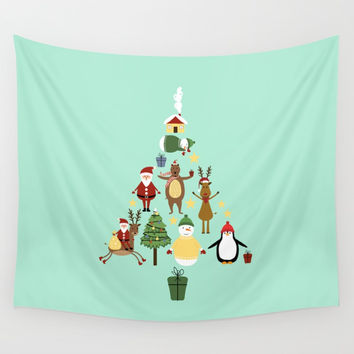 Christmas tree with reindeer, Santa Claus and bear Wall Tapestry by Graf Illustration