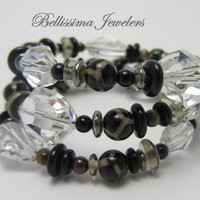 Wire Wrapped Beaded Bracelet, Stackable Jewelry Handmade with Authentic Swarovski Crystal and Natural Artisan Beads