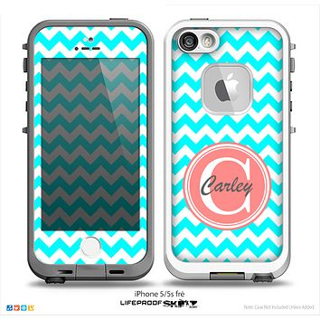 The Turquoise & White Chevron Monogram Name Script Skin Coral v1 Skin for the iPhone 5-5s Fre LifeProof Case