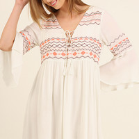 Cream Bell Sleeved Dress with Embroidered Detail