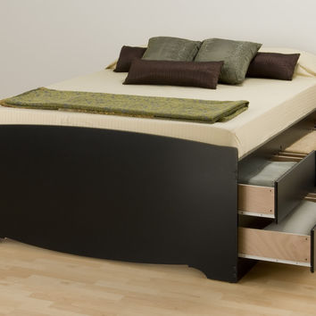 Black Tall Queen Captain Platform Storage Bed with 12 Drawers