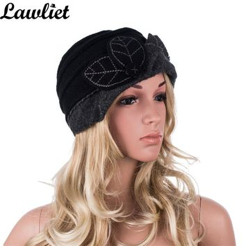 Women Winter Hat Leaves Ruched Effect Wool Beanies Hats for Women Cloche Bucket Hats Ladies Hats Autumn Winter Skullies Cap A375