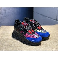 KUYOU V002 Versace Fashion Breathable Height Increasing Shoes Black Blue Pink Red