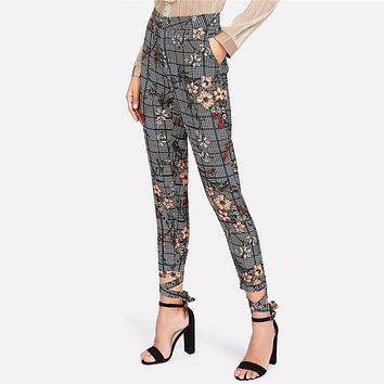 HOLLY'S HOUNDSTOOTH FLORAL ANKLE PANTS
