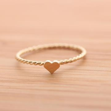 tiny HEART ring with twisted band in sterlingG by bythecoco on Zibbet