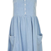 MOTO Denim Babydoll Dress - Bleach Stone
